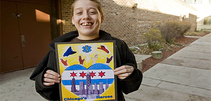 boy 15 year old chicago city sticker design